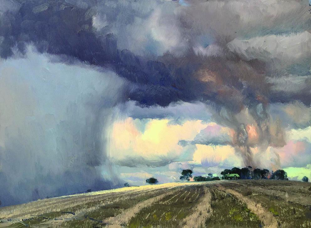 Sun, Storm, Smoke and Stubble 45cm x 60cm