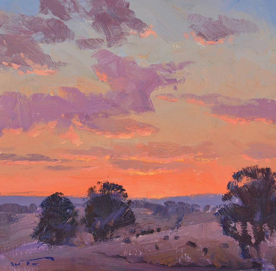 Afterglow Sketch, Red Hill 30x30cm