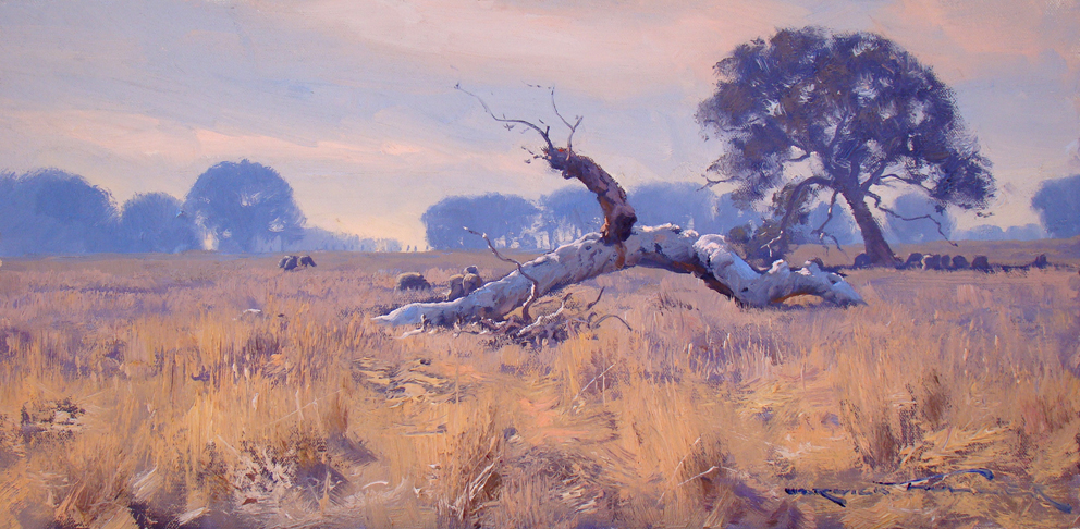Hazy Morning Light, Bannockburn 30 x 60cm