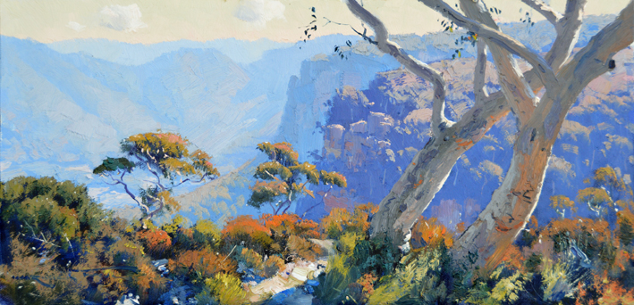 Sketch for Scribbly Gums at Blackheath 30 x 60cm