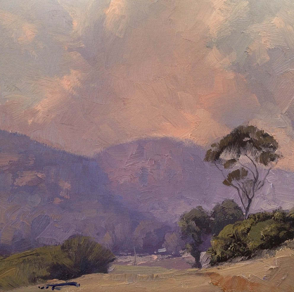 Sun through Smoke, Glen Davis 30x30cm